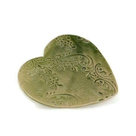Szív tálka csipkés, zöld
